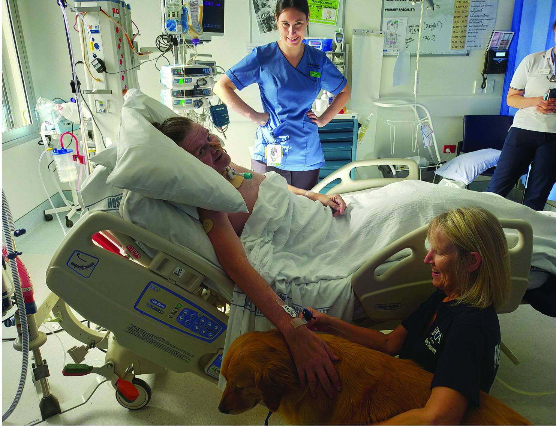 Golden retriever Lochie visits Geoff Boon