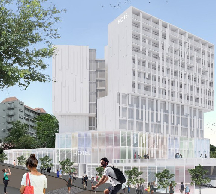 An artist's impression of the revised hotel design.