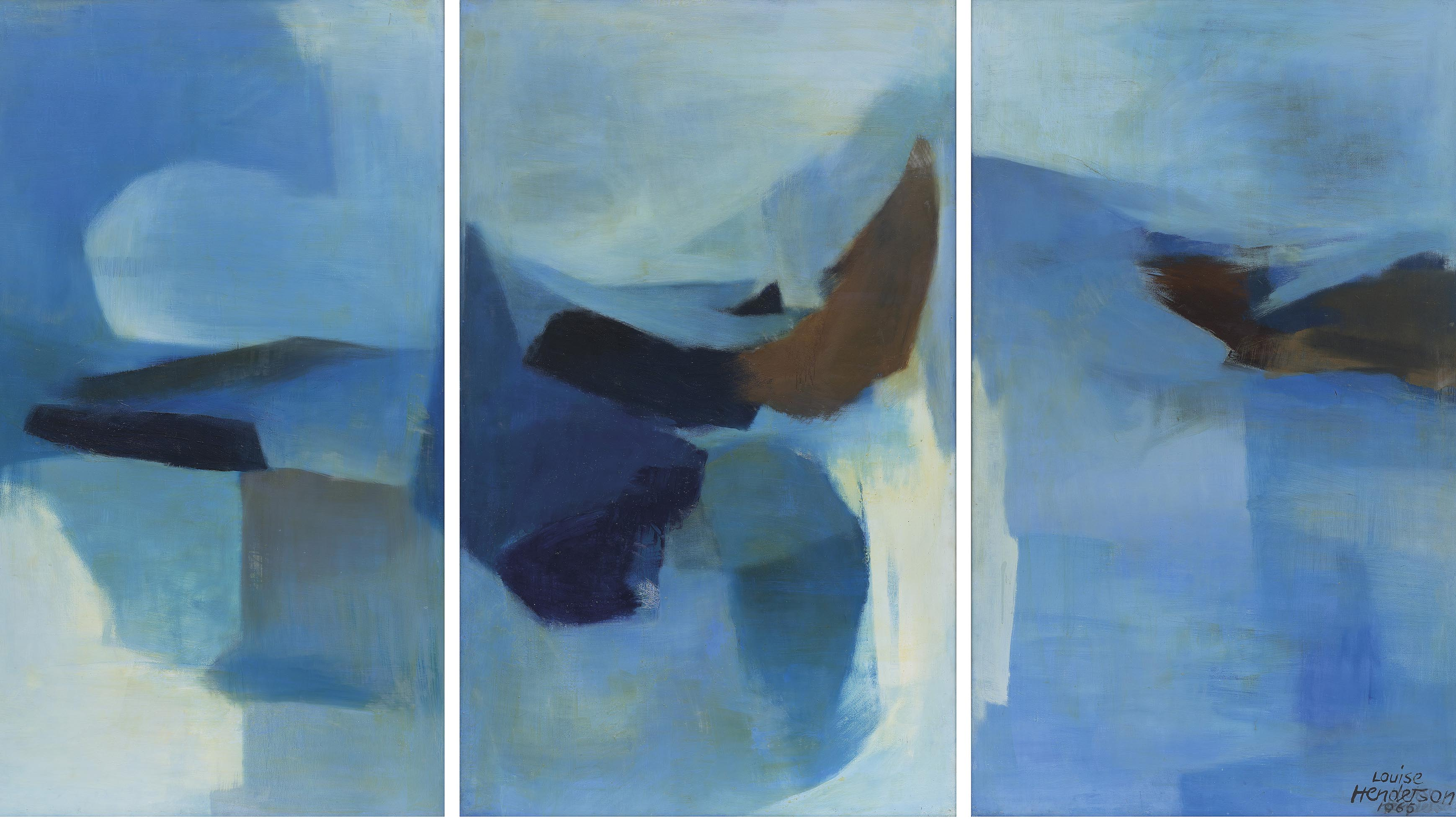 The Lakes (triptych), Louise Henderson, 1965.