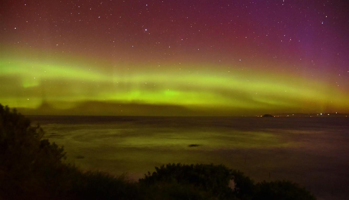 The aurora seen from Blackhead beach. Photo Craig Baxter