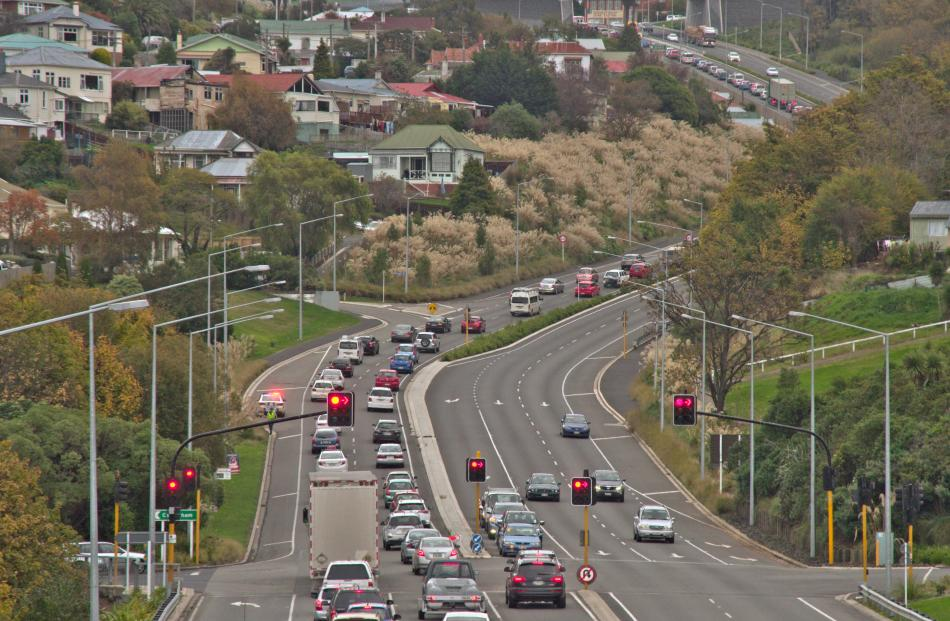 The busiest stretch of highway in the province is SH1 at Caversham Valley Rd, in Dunedin. Photo: ODT