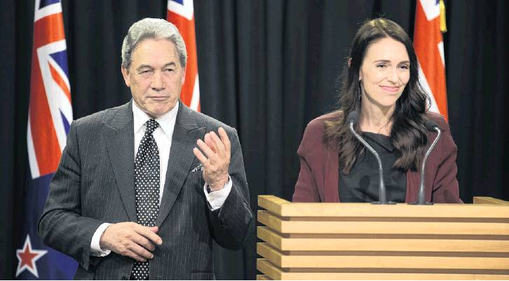 Prime Minister Jacinda Ardern and Deputy Prime Minister Winston Peters during their post-Cabinet...
