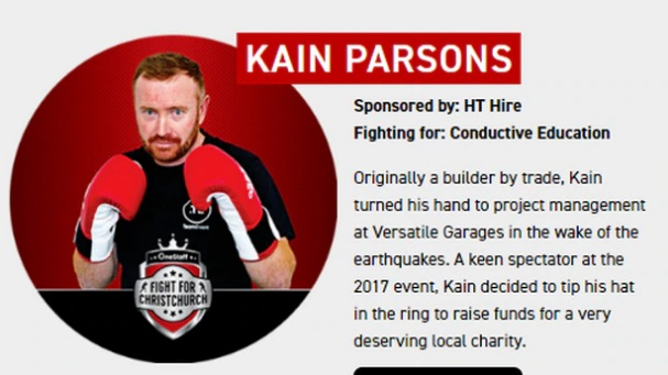 Kain Parsons' promotional material on the charity boxing promoter's website.