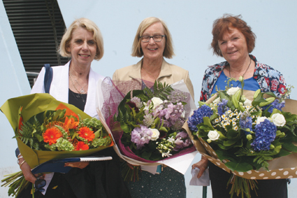 Farewelled Te Anau School teachers (L to R)  Lynne Smith, Miriam Dudfield and Sue Fuller left the...