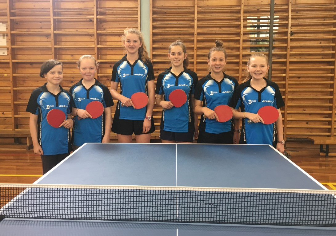Players (left to right) are Hazel McCabe, Babet Doherty, Ruby Anderson, Molly Newell, Jessica...