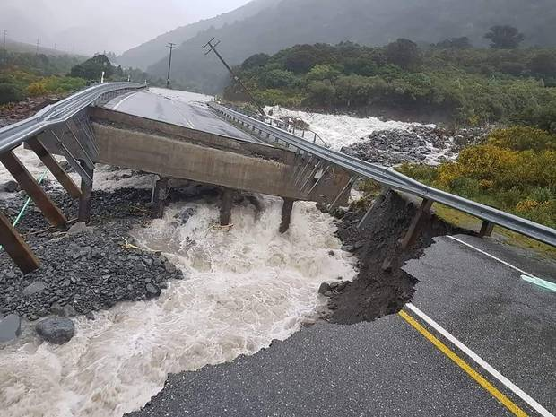 Bridge collapse at Goat Creek on State Highway 17 just east of Otira. Photo: Supplied via NZ Herald
