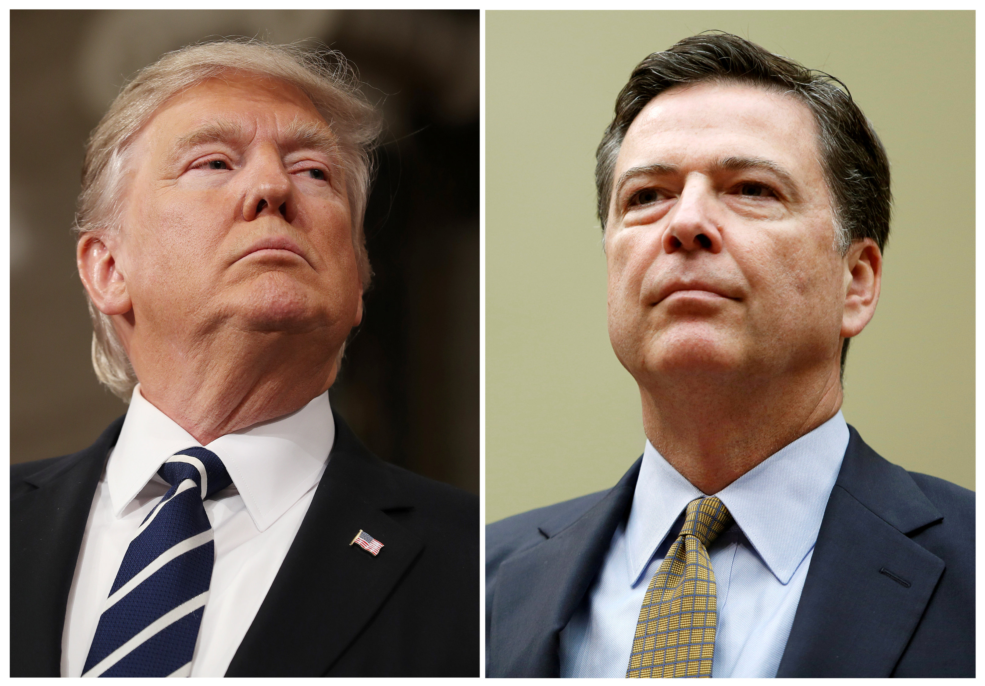 Donald Trump (left) and James Comey. Photo: Reuters