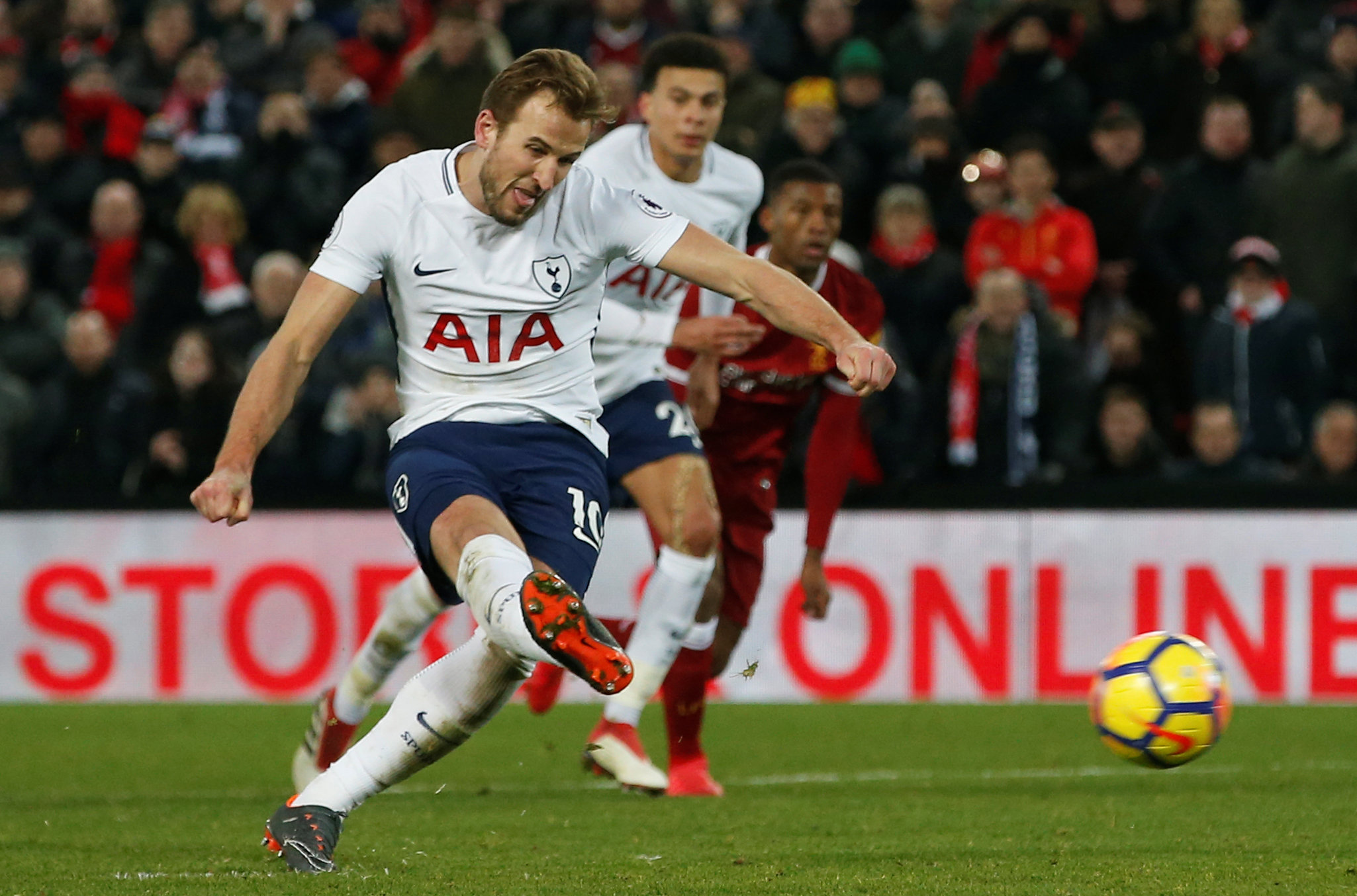 Harry Kane scores Spurs' second goal from a penalty. Photo: Reuters