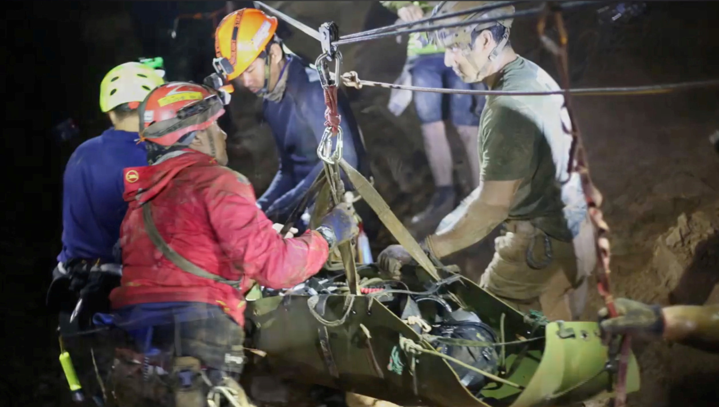 About 90 divers in all took part in the complex and dangerous rescue. Photo: Thai Navy Seal via...