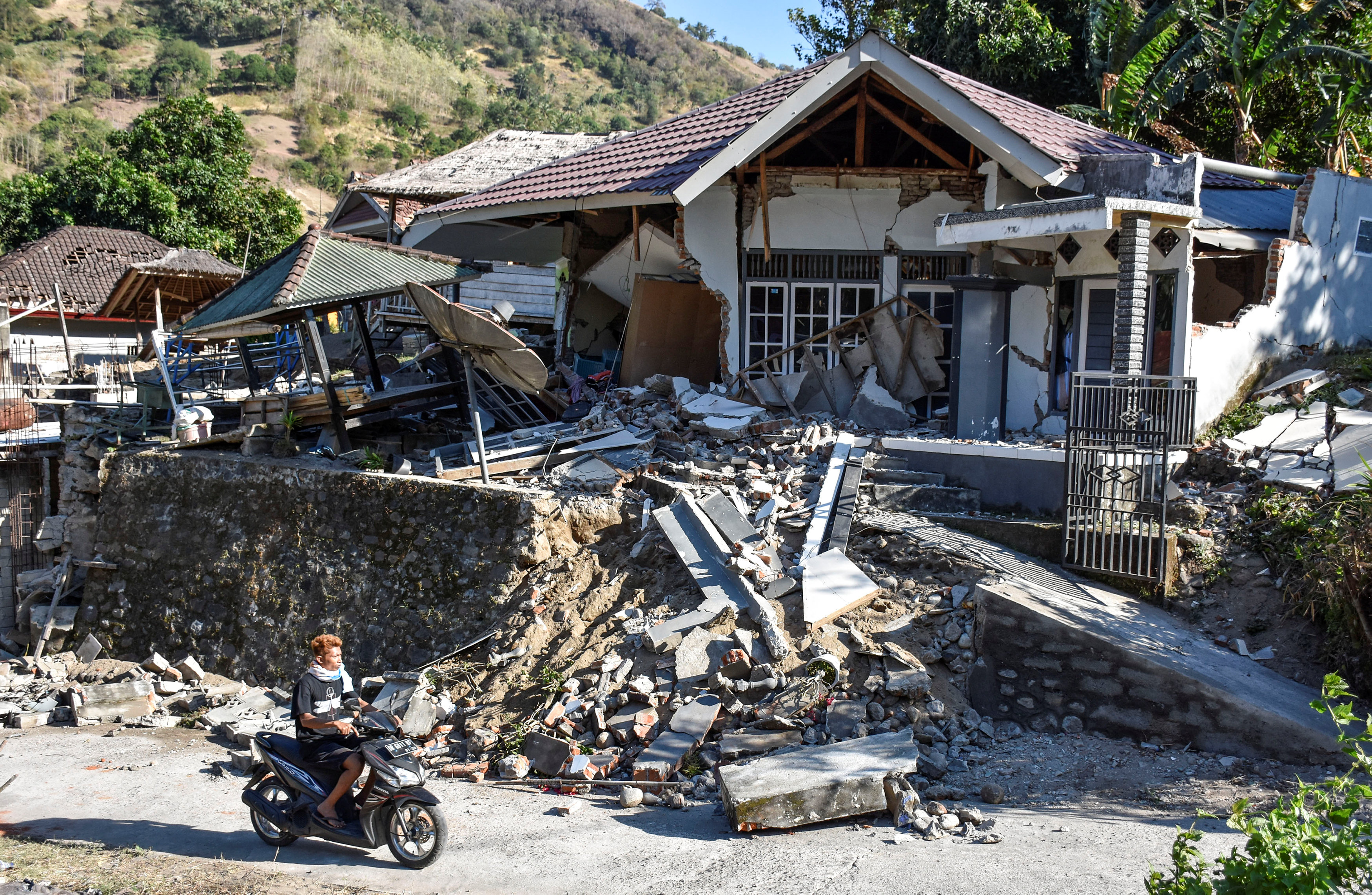 A damaged home in Pemenang, north Lombok. Photo:  Antara Foto via Reuters