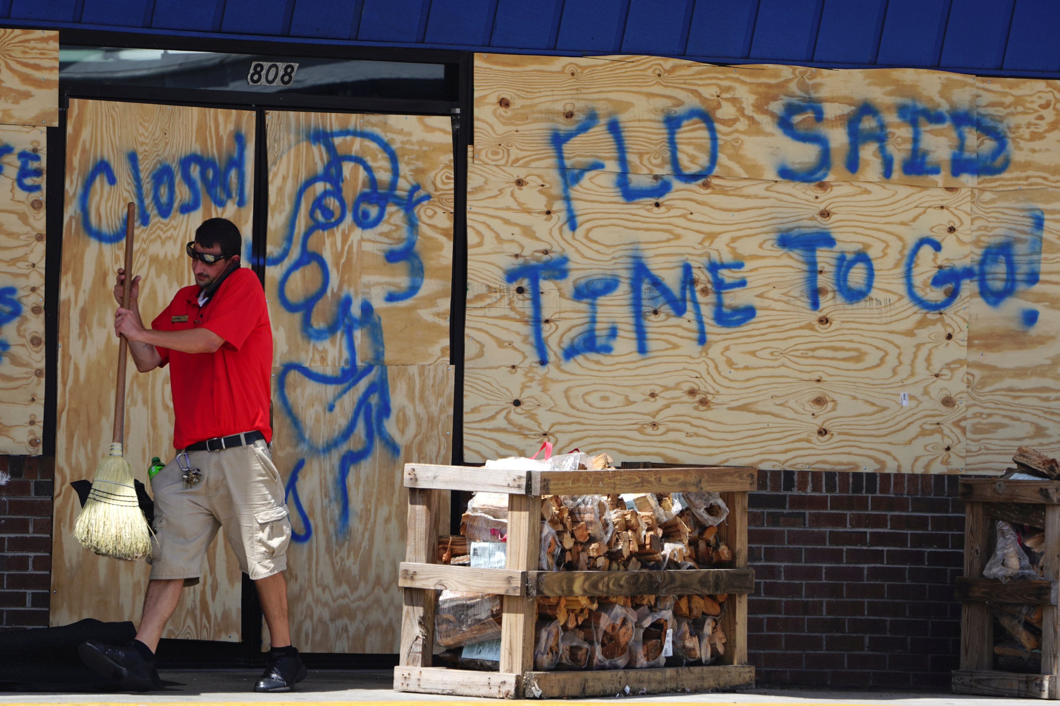 The writing's on the wall in Carolina Beach. Photo: Reuters