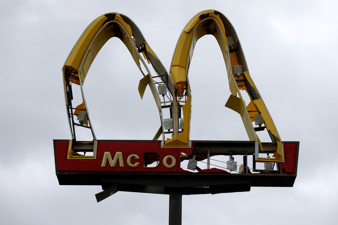 A McDonald's sign damaged by Hurricane Michael in Panama City Beach, Florida. Photo: Reuters