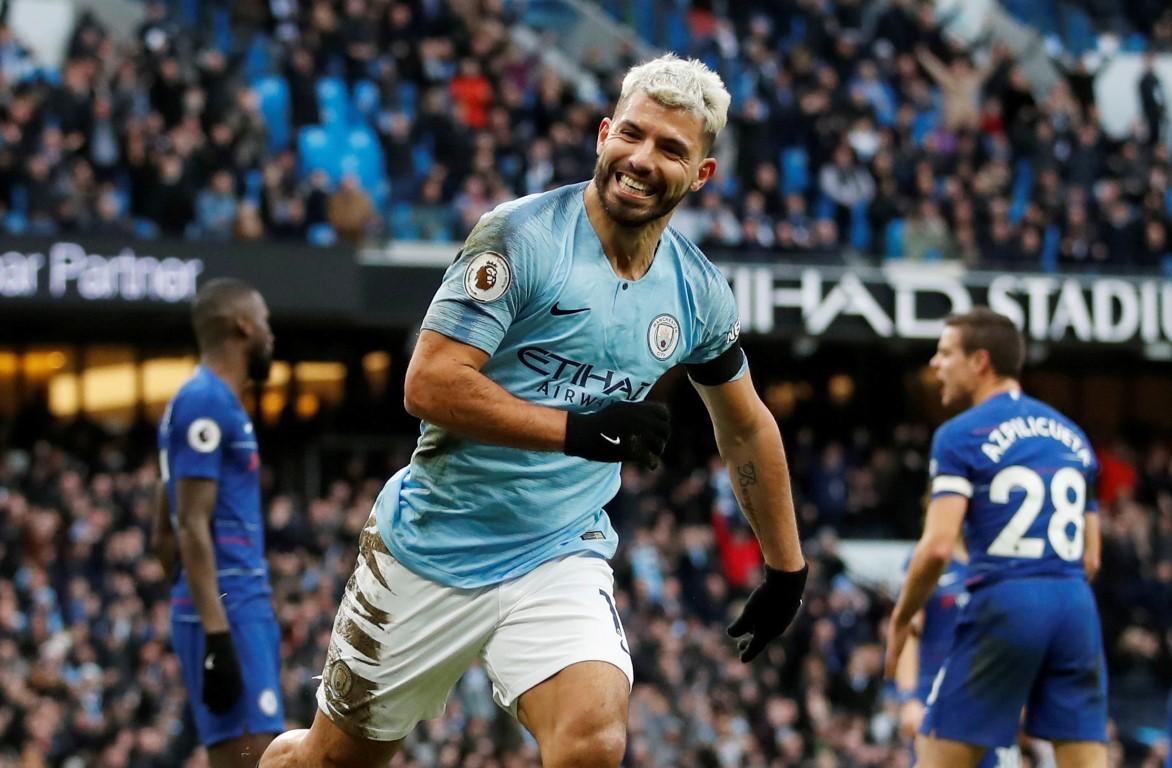 Sergio Aguero celebrates scoring the third goal for Manchester City. Photo: Reuters