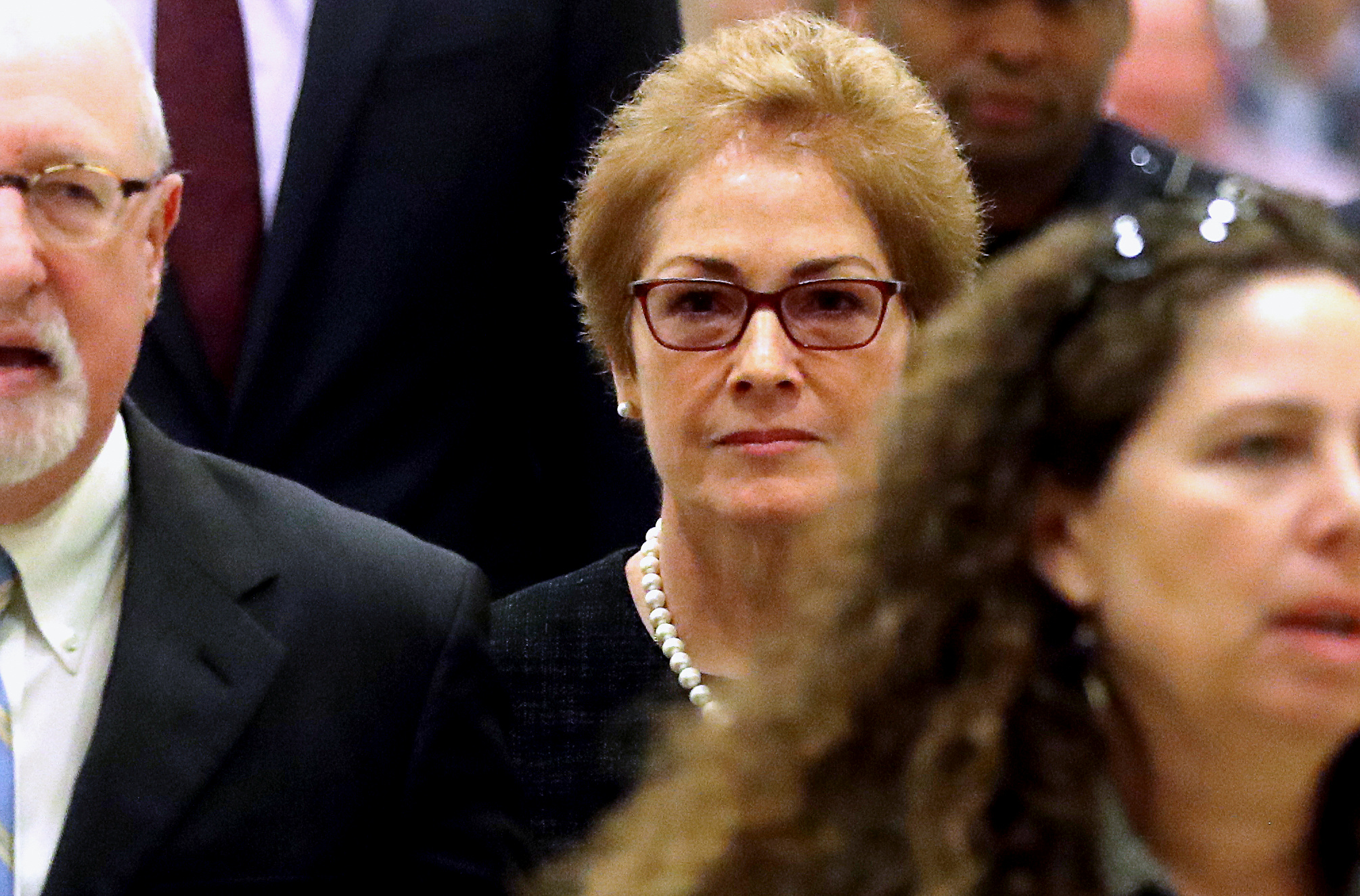 Marie Yovanovitch's (centre) stint as envoy in Kiev was cut short when she was recalled to...