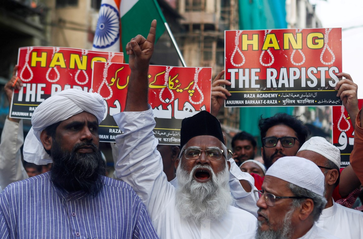 Demonstrators at a protest in Mumbai following the alleged rape and murder of the woman. Photo:...
