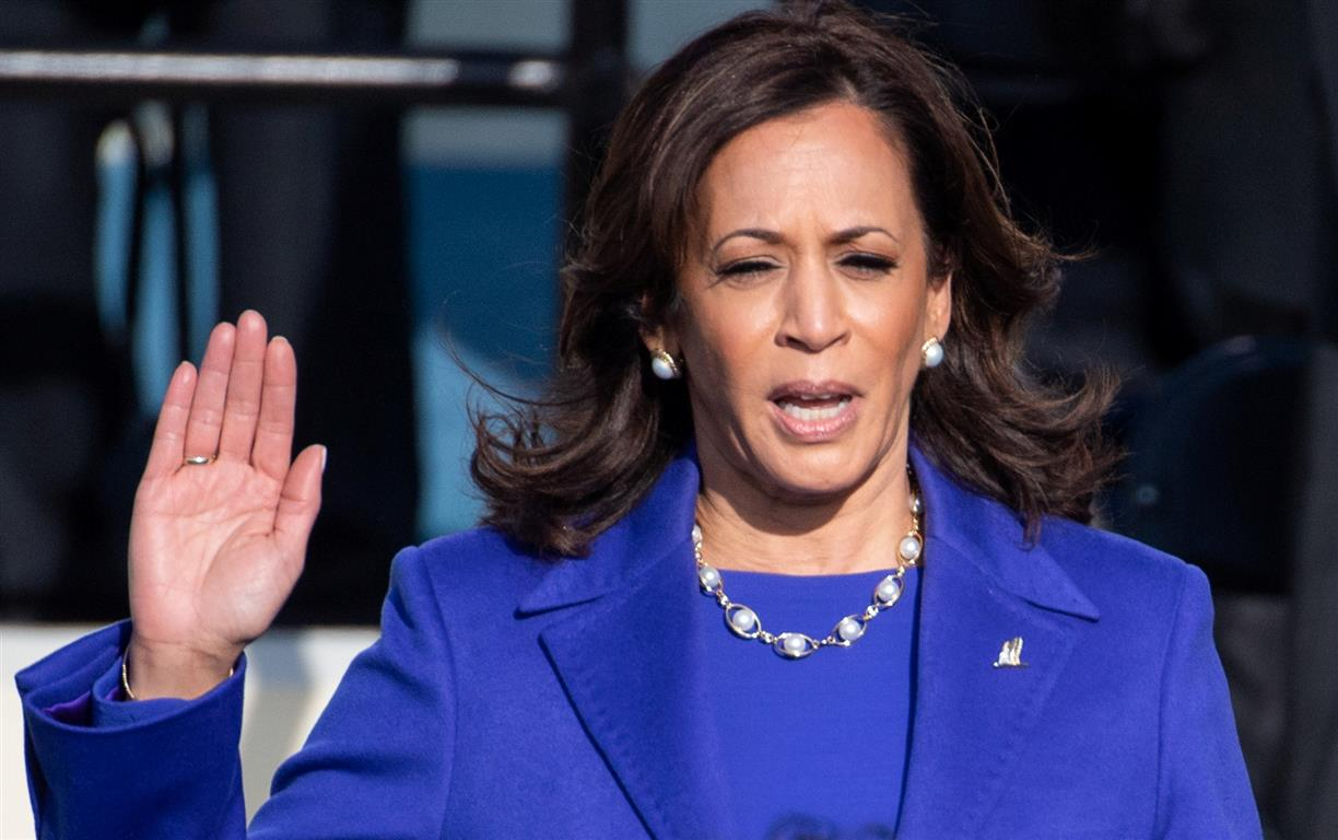 Kamala Harris is sworn in as US Vice President. Photo: Reuters