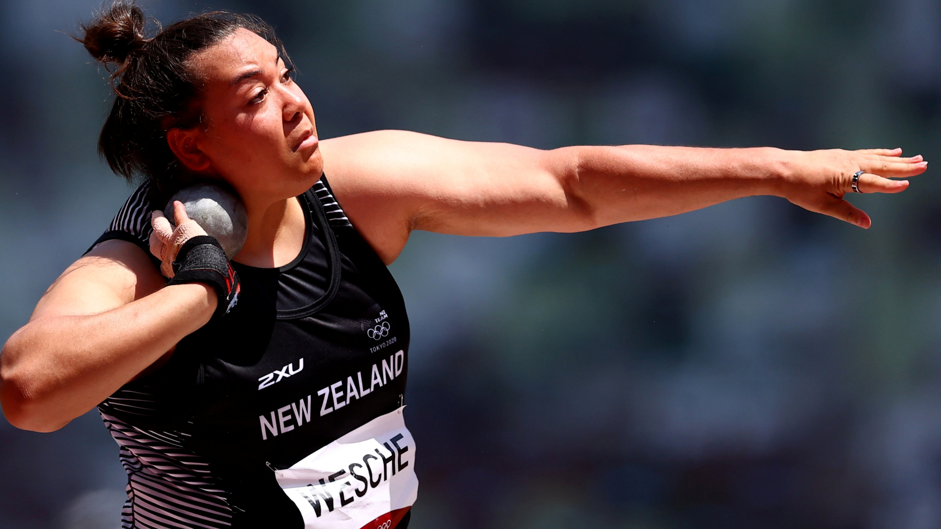 Maddison-Lee Wesche threw a personal best in the final. Photo: Reuters
