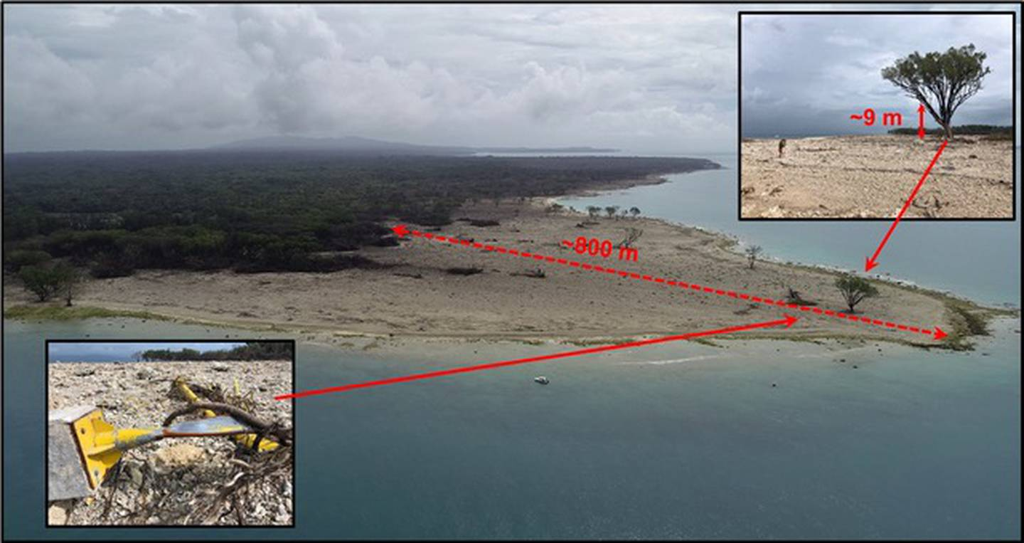 This image shows the tsunami's run-up depth at the northern tip of Ujung Kulon island, along with...