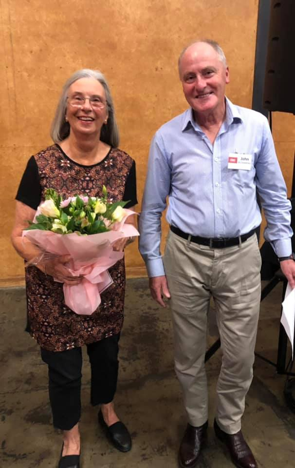 Doris Barnard with The Court Supporters committee member John McSweeney. Photo: The Court Theatre