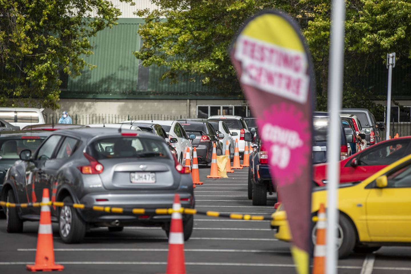 People in about 100 cars were lined up and ready to have their test at the Otara Covid-19...