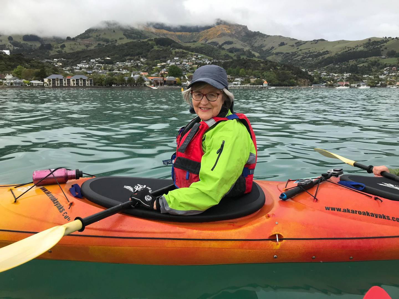 Eugenie Sage kayaking on Akaroa Harbour. Photo: Supplied via NZH