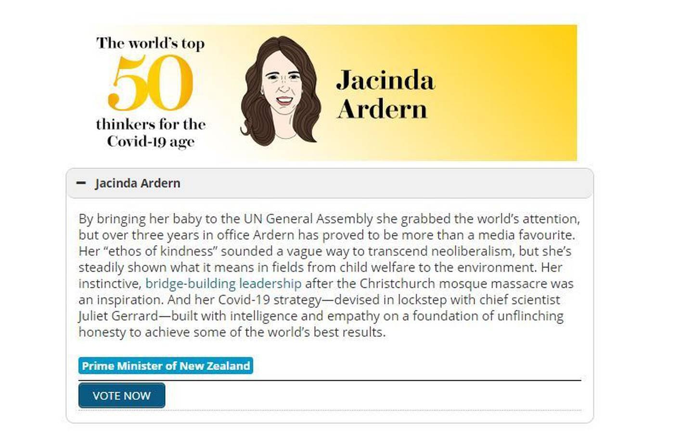 Jacinda Ardern was given glowing praise. Photo: Prospect