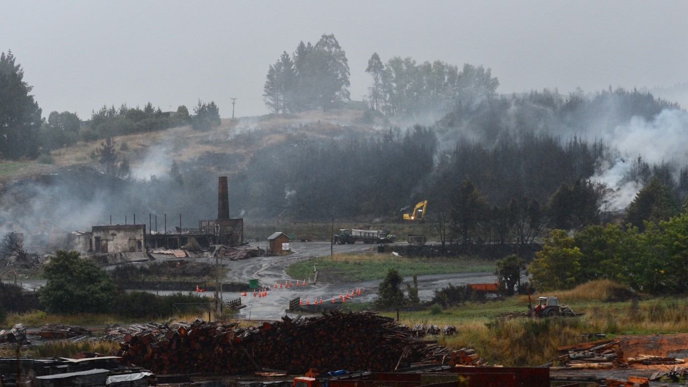 The fire scene was still smouldering yesterday morning. Photo Gerard O'Brien