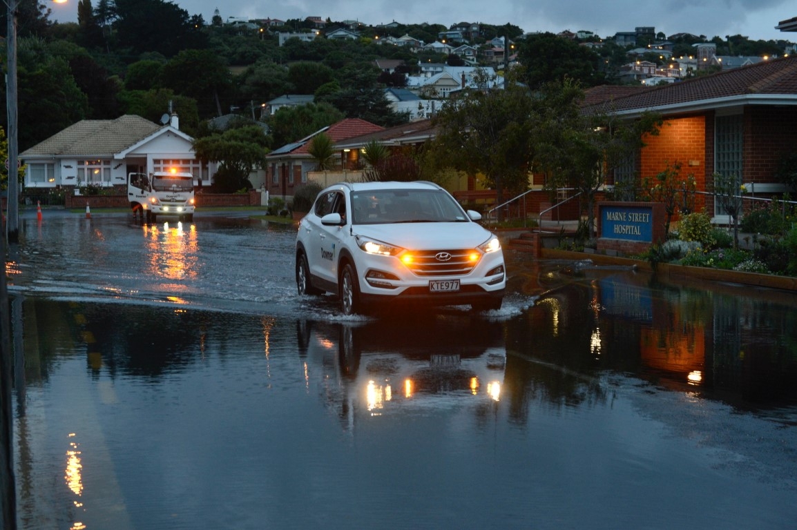Marne St in Dunedin was still flooded this morning. Photo Gerard O'Brien