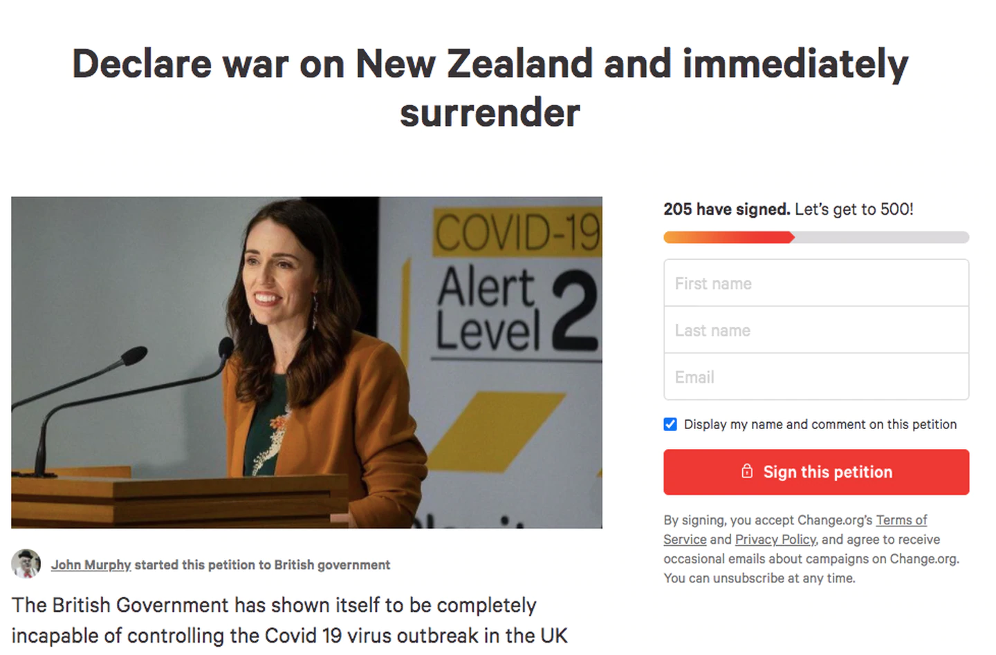 A petition calls on the British Government to declare war on NZ as a Covid-19 strategy. Photo:...