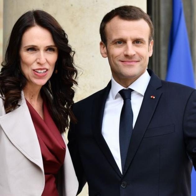 Jacinda Ardern met with Emmanuel Macron in Paris in May 2019. Photo: Getty Images