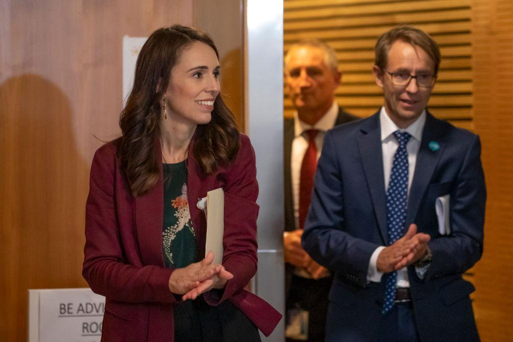 Prime Minister Jacinda Ardern and director general of health Dr Ashley Bloomfield. Photo: Getty...
