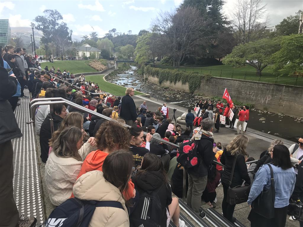 A large crowd gathered at the Univeristy of Otago to listen to the Prime Minister. Photo: Daisy...