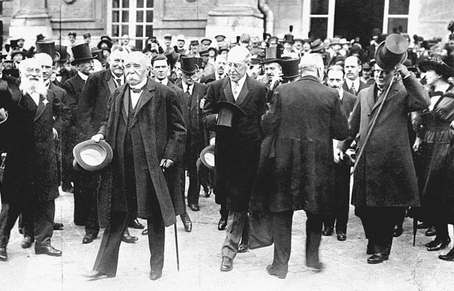 French Prime Minister Georges Clemenceau (left), US President Woodrow Wilson (centre) and British...