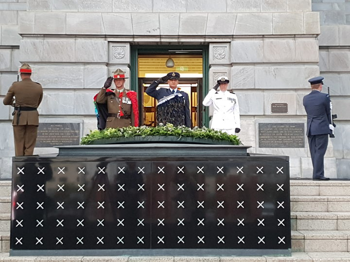 The Remembrance Wreath has been laid on the Tomb of the Unknown Warrior. Photo: RNZ