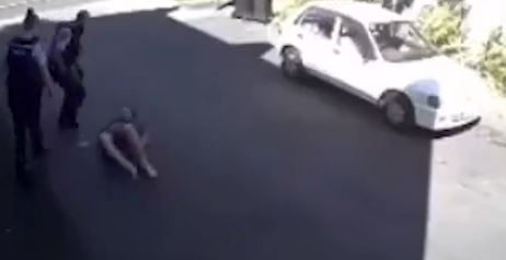 The video of the Christchurch arrest is circulating on social media. Image: Supplied