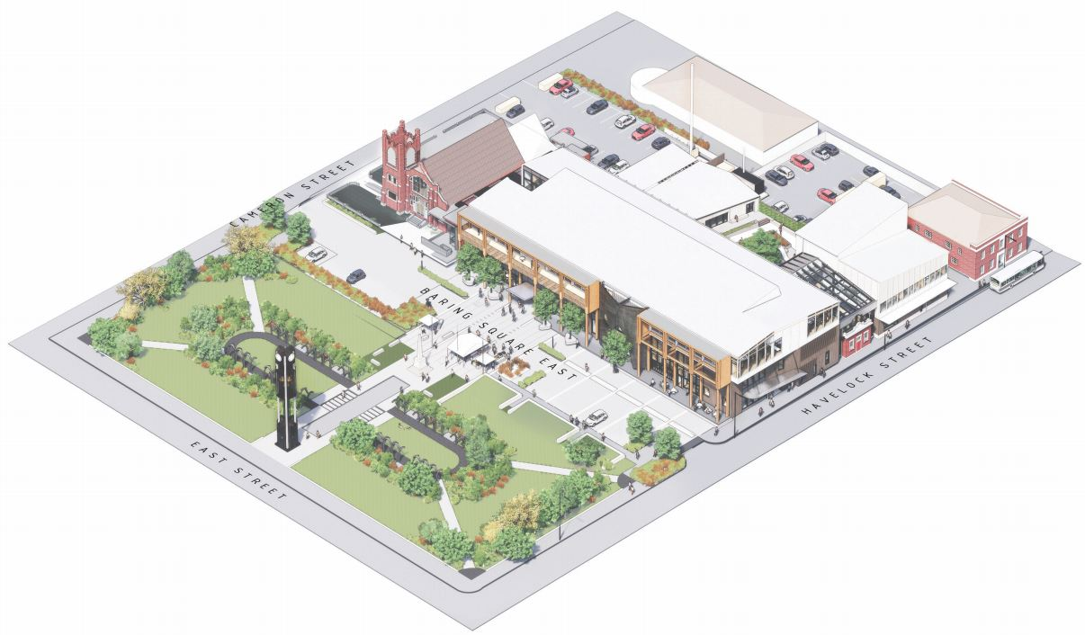 A concept plan for the rejuvenation of Baring Square East. Image: Supplied via Ashburton Courier