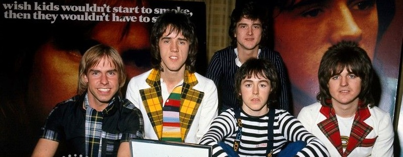 The Bay City Rollers with Les McKeown (back) in 1975. Photo: Reuters