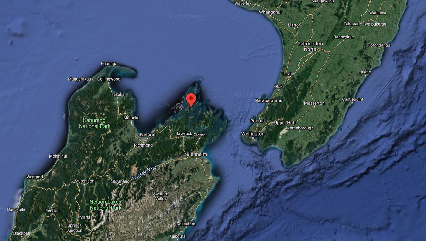 There was a boat fire in the Marlborough Sounds this morning. Image: Google