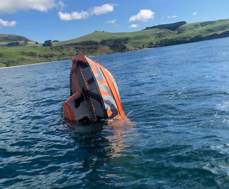 The boat sank just north of Puddingstone Rock and had its bow poking out of the water until it...