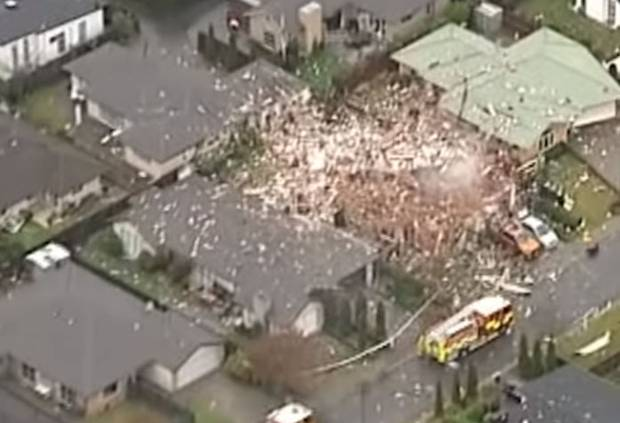 The scene of a gas explosion that levelled a house in Christchurch's Marble Court. Photo: NZ Herald