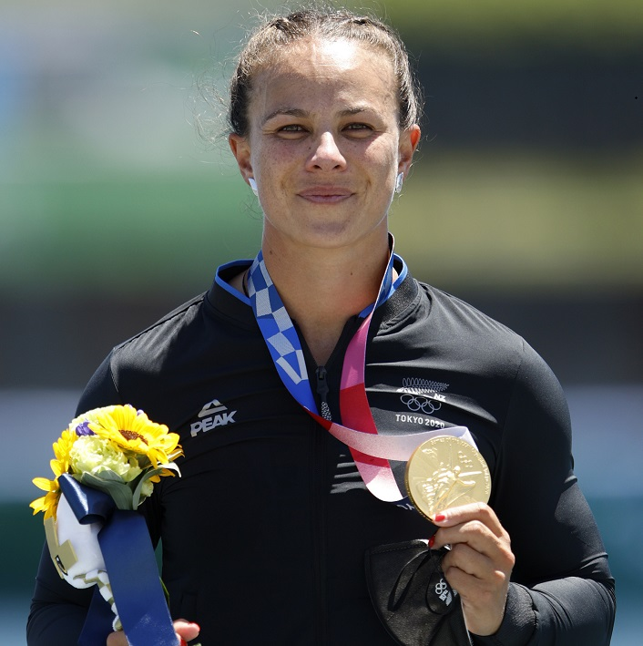 Lisa Carrington with her gold medal after she won the K1 2oo final today. Photo: Getty