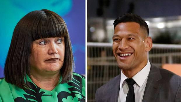 Rugby Australia boss Raelene Castle and Israel Folau. Photo: Getty Images