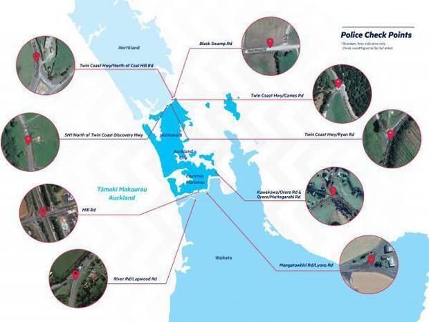 Roadblocks in Auckland under alert level 3. Photo: Police