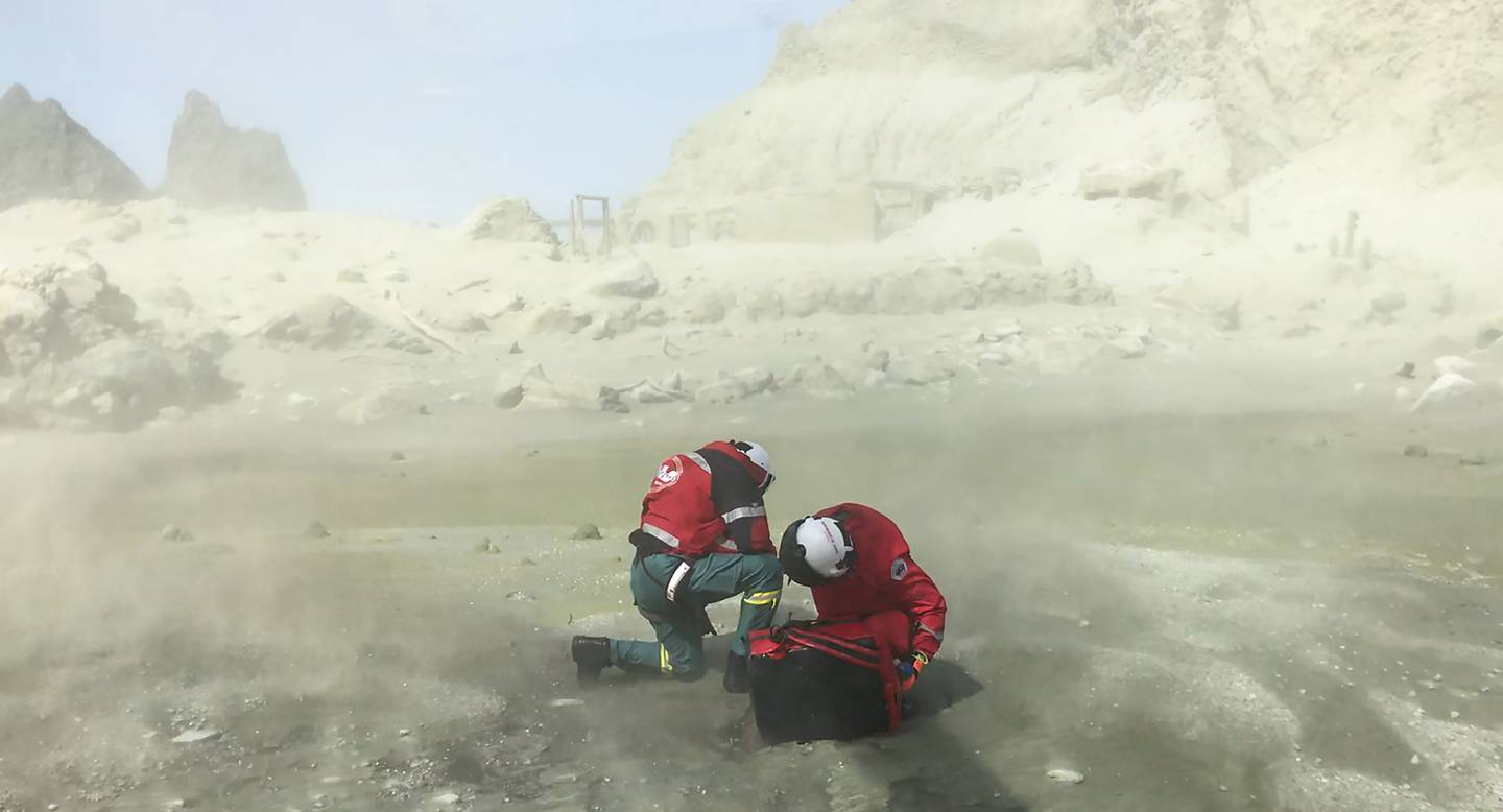 Westpac Rescue Helicopter crew on White Island. Photo: Auckland Rescue Helictoper Trust