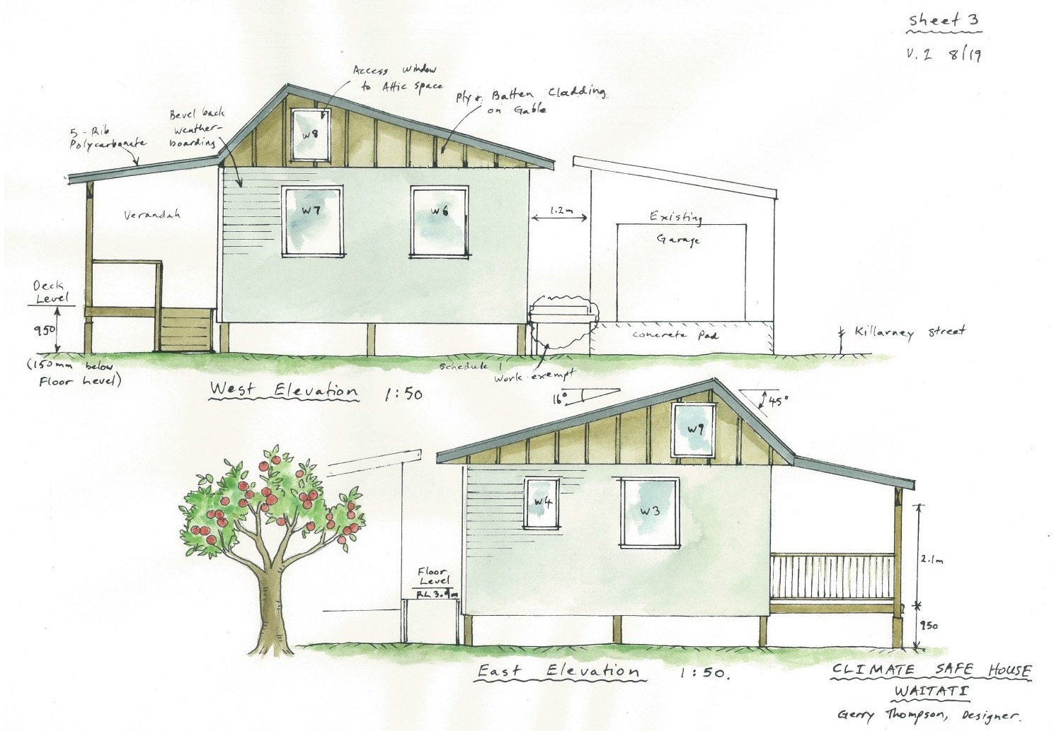 Plans for the climate-safe house being built in a partnership with Otago Polytechnic and others.