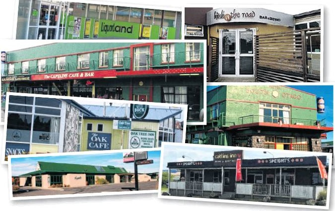 Clutha Licensing Trust businesses (clockwise from top left): Clutha Liquorland, Balclutha; White...