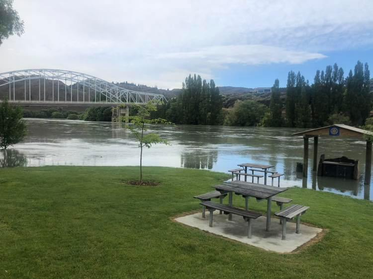 The Clutha River running high in Alexandra. Photo: Central Otago District Council