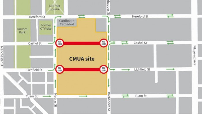 This map shows the changed traffic flows around the Canterbury Multi-Use Arena site. Image:...