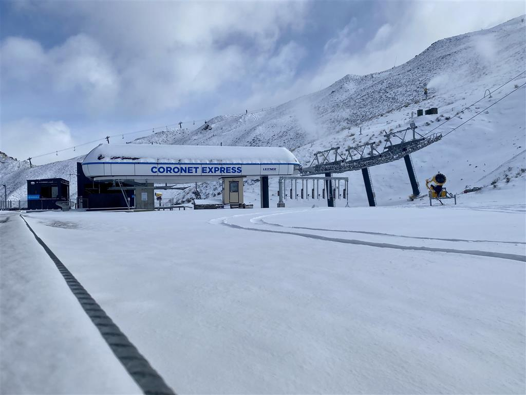 Snow at Coronet Peak skifield this morning. Photo: Coronet Peak