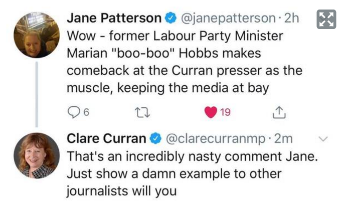 Political commentator Matthew Hooton took a screenshot of the exchange, before Curran deleted her...